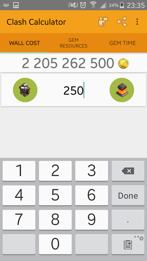 Screenshots of Calculator for Clash of Clans for iPhone