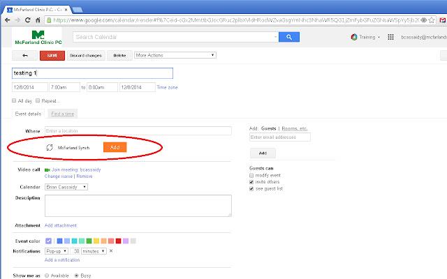 McFarland EventSynch for Google Calendar