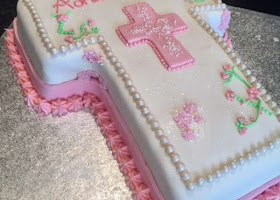 Cross shaped christening cake