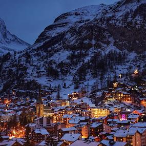 Blue Hour in Zermatt  by Arda Erlik - City,  Street & Park  Historic Districts ( zermatt, switzerland, matterhorn )