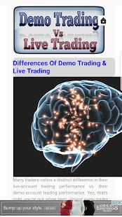 Demo Trading VS Live Trading - náhled