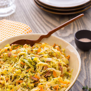 Braised Cabbage with Leeks and Bacon.