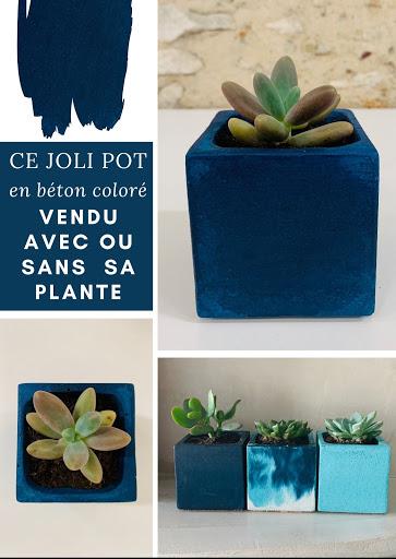 plante en pot design béton