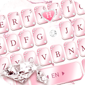Pink Lovely Diamond Marble Keyboard Theme