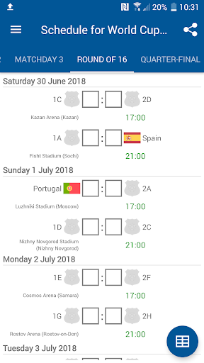 Schedule for World Cup 2018 Russia 1.0.0 screenshots 5