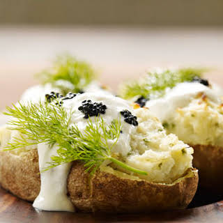Twice-Baked Potatoes with Horseradish & Caviar.