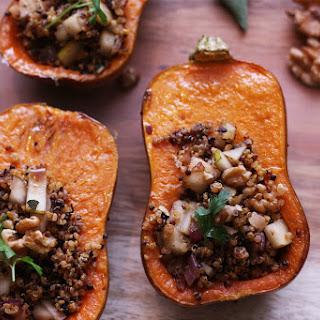 Stuffed Honeynut Squash with Quinoa & Pear Filling (Vegan, GF).