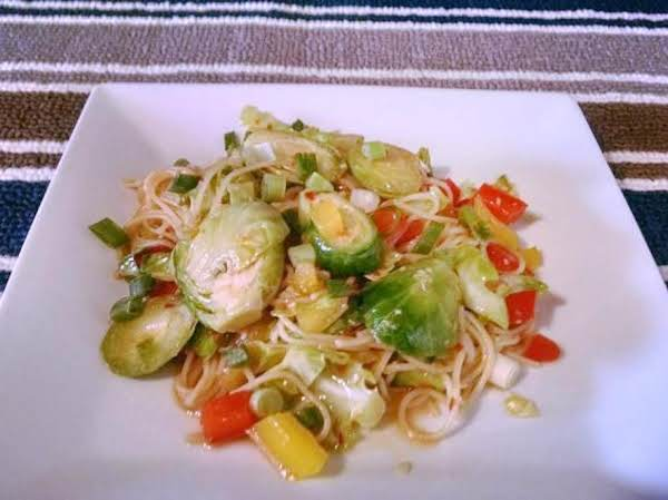 Brussels Sprouts With Soba Noodles In Miso Sauce