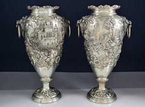 Photo: http://www.RareSterling.com RareSterlng.com - S. Kirk and Son Sterling Castle Vases