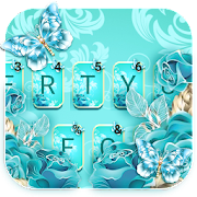 Blue Rose Butterfly Keyboard Theme