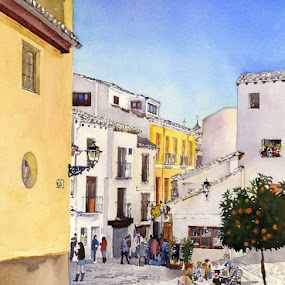 Puerta de San Gregorio by Margaret Merry - Painting All Painting ( street, andalucia, buildings, citiscape, architecture, albaicin, granada, spain )