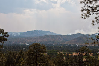Photo: The scene on July 4th, eight days after the Las Conchas fire started. Even though the fire was still smoldering in the mountains, residents were allowed to return on July 3rd.