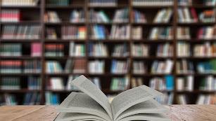 Libro abierto con una estantería llena de ejemplares apilados al fondo.