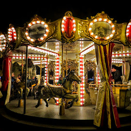 carousel by Dunja Kolar - City,  Street & Park  Night ( croatia, zagreb, carousel )