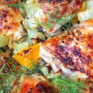 Chicken Thighs w/ Fennel, Oranges & Olives