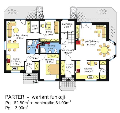 BS-12 dwurodzinny - Rzut parteru - propozycja adaptacji - zmiana funkcji pomieszczeń