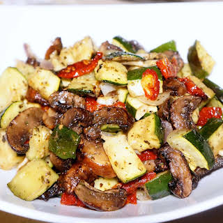 Roasted Zucchini, Baby Bella Mushroom with Sun-dried Tomatoes.