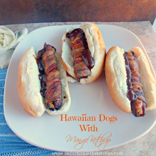 Hawaiian Hot Dogs With Mango Ketchup.