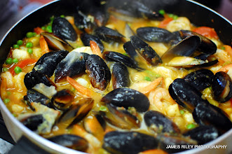 Photo: Add scallops and saute with Shrimp, peas, prawns in a pan or skillet.