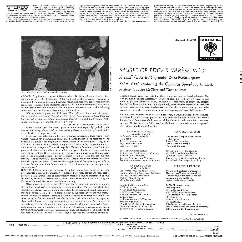 Edgar Varèse, Robert Craft