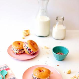 Glazed Donut Ice Cream Sandwiches with Sprinkles