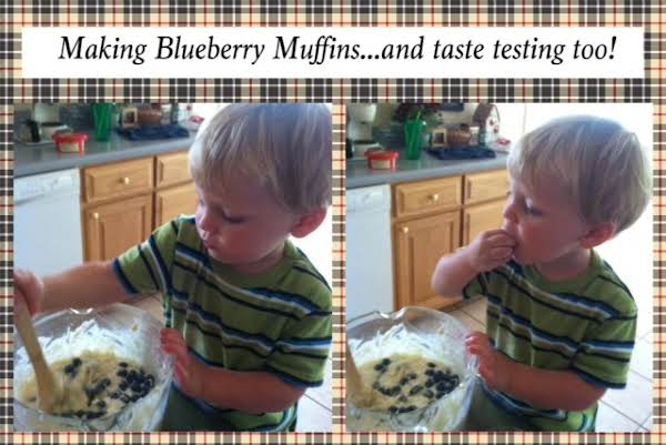 Making Blueberry Muffins With My Grandson Johnny Is Such Fun.