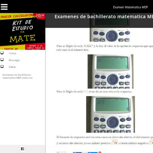 Examen de Matematica MEP