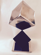 Photo: BALANCING ACT - CUBE ON TRUNCATED CUBE - 18H X 10W X 10D Polished and Painted Mild Steel, Interactive Kinetic