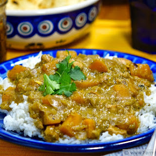 Slow Cooker Green Tomato Curry with Buttercup Squash and Chicken