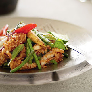 Spicy Stir-fried Squid With Snake Beans And Baby Corn.