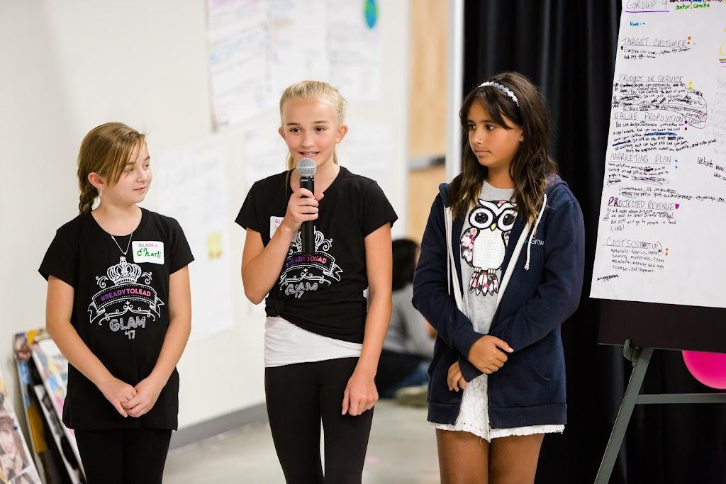 Girls pitching their business plan at GLAM
