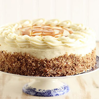 Kentucky Bourbon Butter Cake with Cream Cheese Frosting and Salted Caramel Sauce.