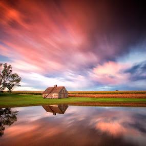High Skies by Ken Smith - Landscapes Cloud Formations ( barn, sunset, nebraska )