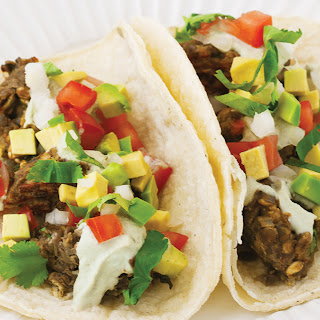 Spicy Lentil Meatball Tacos with Lime Pepita Cream.