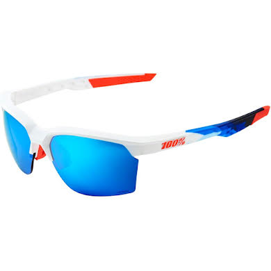 100% SportCoupe Sunglasses: Polished White/Geo Print Frame with HiPER Blue Multilayer Mirror Lens, Spare