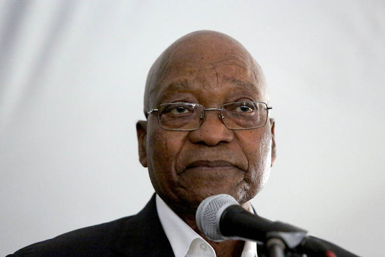 Former president Jacob Zuma during his welcome home prayer in Nkandla.