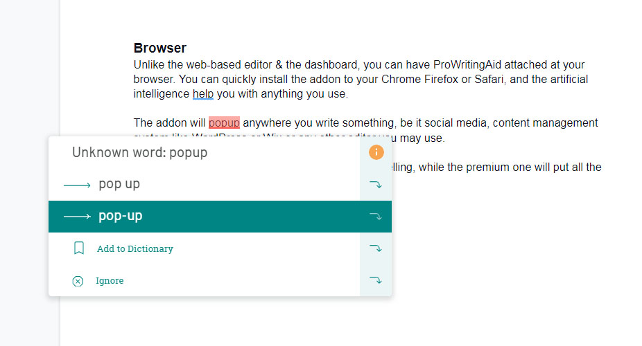 ProWritingAid browser add-on