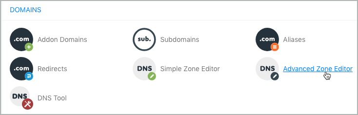 The Advanced Zone Editor option under the Domains section is selected.