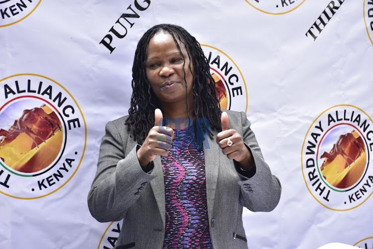 Thirdway Alliance party Nairobi deputy governor candidate Angela Mwikali in Nairobi on December 31,2020.