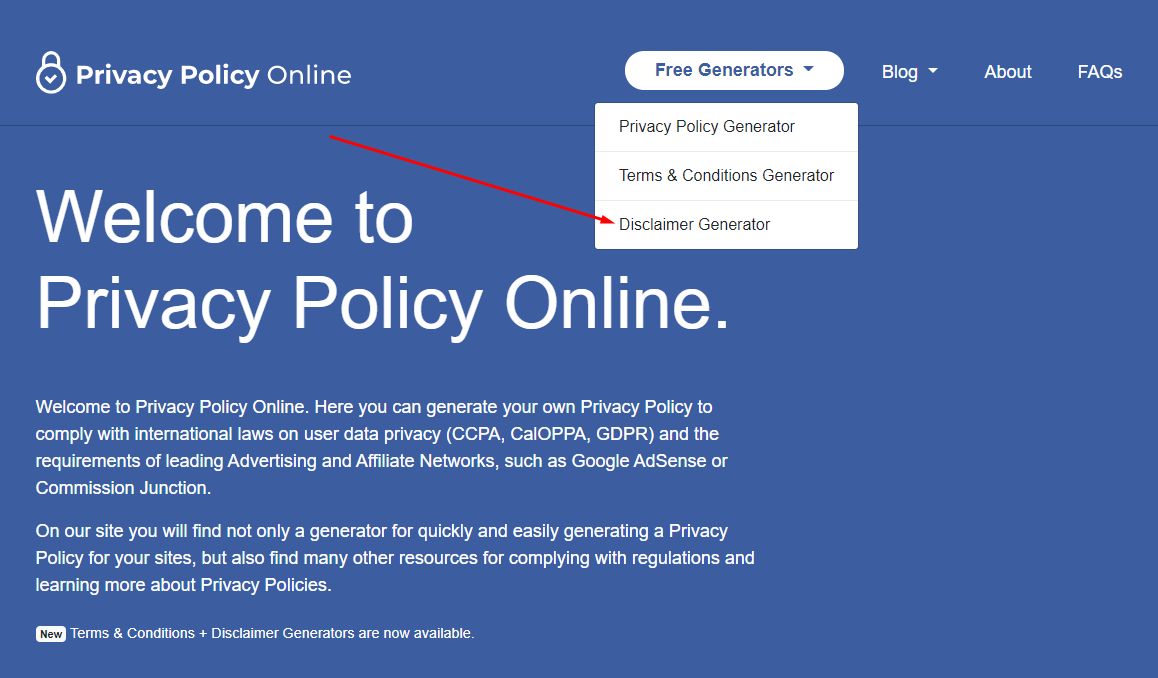 Menu disclaimer generator di Privacy Policy Online
