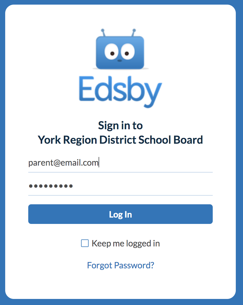 The Edsby login page for desktop computers is shown with a blue login button.