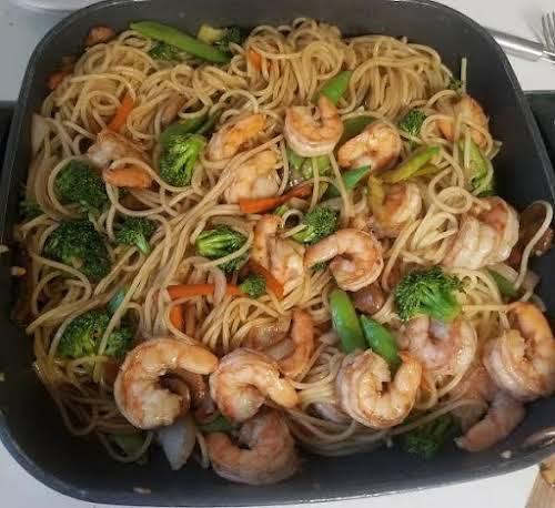 """Shrimp Lo Mein (Authentic) """"This Shrimp Lo Mein recipe is so good,..."""