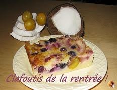 Clafoutis aux mirabelles, raisins et nectarines