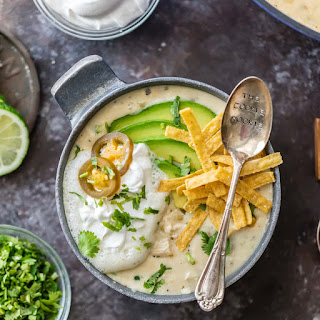 Creamy White Chicken Chili with Cream Cheese.