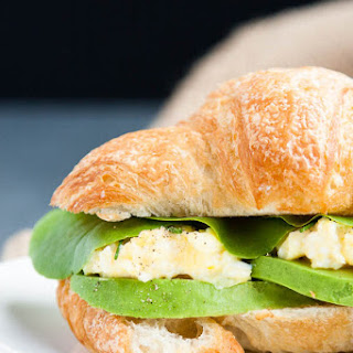 Creamy Scrambled Egg Breakfast Sandwiches with Avocado.
