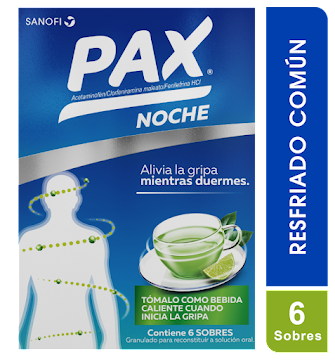 Acetaminofen  + Clorfeniramina + Fenilefrina  PAX NOCHE LIMÓN CAJA X6SOB  SANOFI