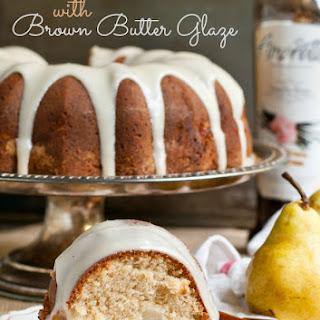 Pear Bundt Cake with Vanilla Brown Butter Glaze.