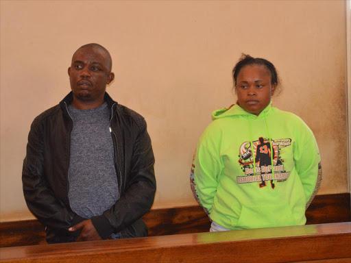 Joseph Karue and Judy Mungai in a Kiambu court yesterday /STANLEY NJENGA