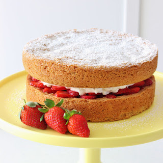 Brown Sugar Sponge Cake with Berries and Whipped Cream | Gluten Free.