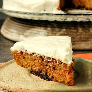 Carrot Cake Poke Cake With Salted Caramel Cinnamon Glaze.